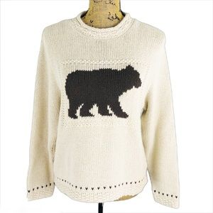 Cotton Country Bear Sweater Rolled Crew Neck